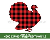 Turkey Thanksgiving Clipart Red Plaid Buffalo Tartan Flannel Commercial Use 300 DPI Transparent Digital Graphics