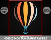 Hot Air Balloon Retro PNG Gondola Parachute Ballooning Aerostat Design Commercial Use Transparent Graphics Clipart 4500 x 5400 Background