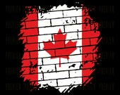 Canada Flag Brick Wall Clipart Canadian Canadien Commercial Use License for Print on Demand POD Maple Leaf Design
