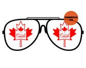 Canada Flag Sunglasses PNG Patriotic Canadian Day Clip Art Maple Leaf Background Commercial Use