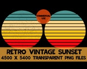 Retro Vintage Sunset 2 Pack PNG Background Clip Art Distressed Grunge Teal Tan Yellow Red 4 Colors