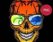 Skull Retro Sunglasses PNG Clipart Skeleton Summer Sunset Beach Surf City Name Logo Template Commercial License Graphic