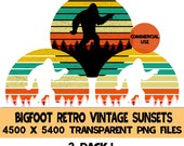 Bigfoot Retro Vintage Sunset 3 Pack PNG Files Sasquatch Yeti Background Sunrise Evergreen Trees Commercial Use Clipart