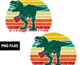 Dinosaur Heart Retro Sunset T-Rex PNG Files Valentines Day Lovers Transparent Graphic Clipart Print On Demand POD Commercial Use