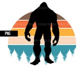 Bigfoot Retro Sunset PNG File Trees Forest Cutout Sasquatch Yeti Commercial Use Print on Demand Clip Art