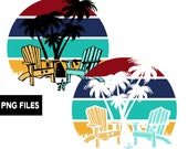 Beach Chairs Palm Trees Retro Sunset PNG Background Clip Art Print on Demand Commercial Use