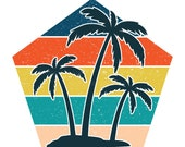 Palm Trees Beach Retro Pentagon Vintage Sunset PNG 300 DPI Transparent Commercial Use Print on Demand Clipart