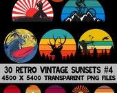 Retro Vintage Sunsets Multi Pack #4 30 Adventure Logos Clip Art PNG Graphics Commercial License