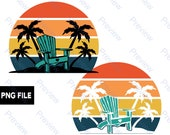 Beach Chair and Palm Trees Sunset PNG Files Retro Background Vacation City Clip Art for Print on Demand Commercial Use