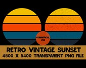 Retro Vintage Sunset 2 Pack PNG Background Clip Art Distressed Grunge Yellow Orange Blue 5 Colors
