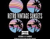 Beach Retro Vintage Sunset 4 Pack Dolphin Palm Trees Tropical Background PNG 300 DPI Transparent Instant Download Commercial Use
