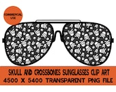 Skull and Crossbones Sunglasses Clip Art Glasses Graphics PNG Design File Background Elements Design Commercial Use Transparent