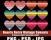 Heart Shapes Retro Vintage Sunsets PNG PSD JPG Files Transparent Commercial License Print On Demand 4500w x 5400h