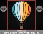 Hot Air Balloon PNG Ballooning Aerostat Retro Gondola Parachute Design Commercial Use Transparent Graphics Clipart  4500 x 5400 Background