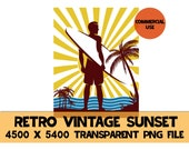 Retro Vintage Sunset Surfer Clipart PNG Surfing Beach Ocean Waves Sun Rays Instant Download Template Commercial License Graphic