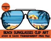 Beach Sunglasses Clip Art Glasses Palm Trees Vacation Graphics PNG Design File Background Elements Design Commercial Use Transparent