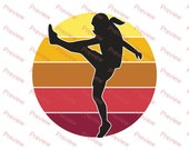 Female American Football Player Kicker Retro Sunset PNG 300 DPI Transparent Commercial Use Print on Demand Clipart