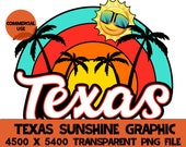Texas Sunshine Beach T-shirt Design Print At Home Instant Download DTG Printing Summer Vacation Shirt