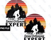 Bigfoot Social Distancing Expert Quarantine 2020 PNG Sasquatch Yeti Commercial Use Print on Demand Clip Art