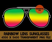 Rainbow Sunglasses Clip Art Glasses Graphics PNG Design File 70's Background Elements Design Commercial Use Transparent