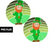 Leprechaun St Patrick's Day Retro Vintage Sunset PNG Files Clip Art Distressed Grunge Print on Demand Commercial Use