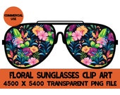 Floral Sunglasses Clip Art Glasses Graphics PNG Flowers Design File Background Elements Design Commercial Use Transparent