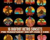 Bigfoot Retro Sunsets 16 Mega Pack Sasquatch Graphics and Clipart PNG Files with Commercial License for Print on Demand