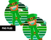 Masked Dabbing Leprechaun St Patrick's Day Retro Vintage Sunset PNG Files Clip Art Distressed Grunge Print on Demand Commercial Use
