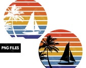Sailboat Retro Sunset PNG Files Palm Trees Beach Sailing Captain Transparent Graphic Clipart Print On Demand POD Commercial Use