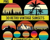 Retro Vintage Sunsets Pack #1 30 Retro Sunset Clipart PNG Digital Download Mountains, Trees, Summer, Beach, Commercial License