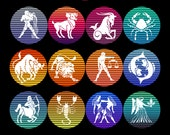 Zodiac Signs Retro Sunsets 12 PNG Files Transparent Full Circle Horoscope Astrology Commercial License for Print On Demand 4500w x 5400h