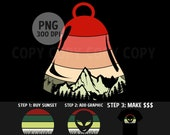 Christmas Clipart Retro Sunset Mountain Bell Ornament PNG Vintage Instant Digital Download Commercial Use 300 DPI Transparent Cut Out