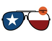 Texas State Flag Sunglasses PNG Patriotic Clip Art Lone Star Texans Background Commercial Use