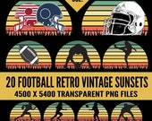 Football Retro Vintage Sunsets 20 Pack Clipart PNG with Commercial License Quarterback Running Back Kicker Helmet Ball Sports Logo Template
