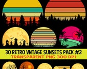 Retro Vintage Sunsets Clipart 30 Pack #2 PNG Sunrise Moon Beach Palm Trees Evergreens Mountains Elements Templates Commercial Use Graphic