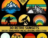 Retro Vintage Sunsets Pack #3 30 Sunset Clipart Sunrise Moons Bigfoot Fire Lake Mountain Fishing Hiking Tree Forest Fire Commercial Graphics