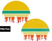 Retro Vintage Sunset Evergreen Trees PNG Instant Digital Download Commercial Use 300 DPI Transparent Clipart Yellow Teal Tan Orange