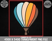 Retro Hot Air Balloon PNG Gondola Parachute Ballooning Aerostat Design Commercial Use Transparent Graphics Clipart 4500 x 5400 Background