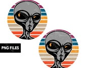 Grey Alien Head Retro Vintage Sunset PNG Files Transparent Graphic Clipart Print On Demand POD Commercial Use