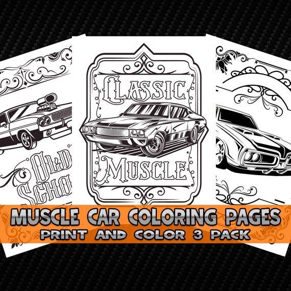 Classic Cars Coloring Pages 3 Pack Print And Color Vehicles Etsy