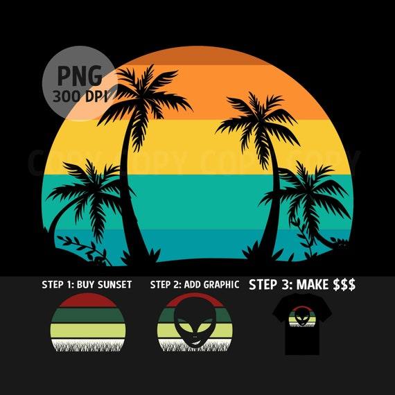Retro Style Costa Rica Sunset Palm Trees Beach Vacation T-Shirt