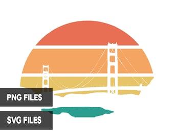 Bridge Retro Sunset PNG SVG Cut Files Clipart Print On Demand San Francisco Bridge Commercial Use Graphic