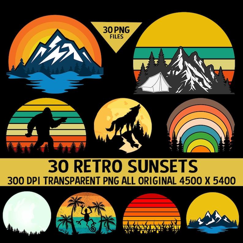 Retro Vintage Sunsets Pack 3 30 Sunset Clipart Sunrise Moons image 0
