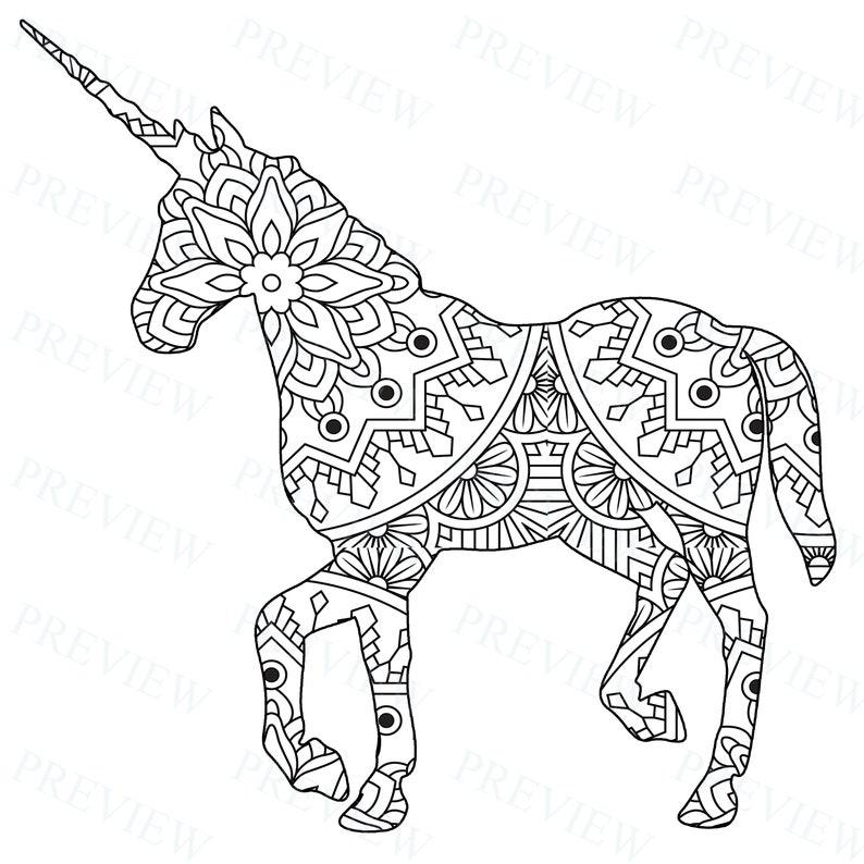 10 Mandala Unicorn Mandala Coloring Pages Commercial ...