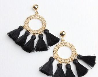d30f54a09 Statement Earrings : Chain Link Design Black Tassel Earrings / Designer  Inspired Black Tassel Earrings