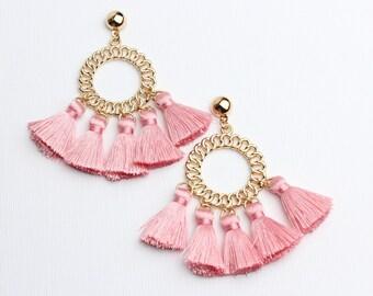 a745b9fdd Statement Earrings : Chain Link Design Pink Tassel Earrings / Designer  Inspired Pink Tassel Earrings