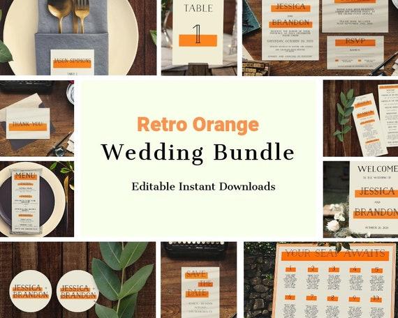 Retro Orange Wedding Invitation Set Bundle DIY Template Hipster Suite Sign Retorange