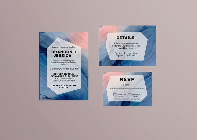 Blue and Blush Pink Watercolor Modern Invitation Templatewatercolor invitation printableprintable wedding invitation wedding download