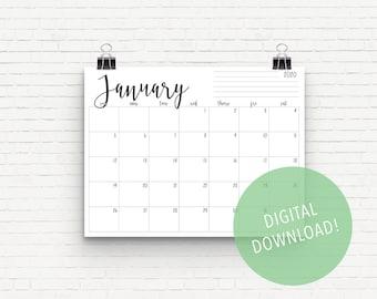 Cricut January 2020 Calendar 8x11 Monthly calendar | Etsy
