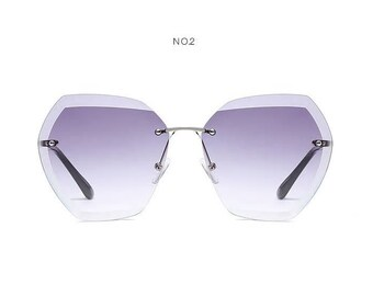 351adc4d6b Rimless Women Brand Designer Summer Oversized Vintage Sunglasses
